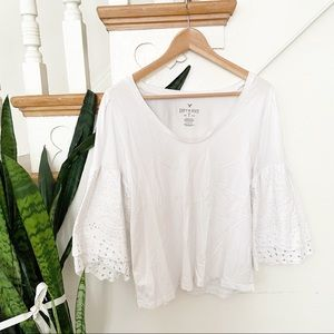 AEO white eyelet flare sleeves blouse scoop neck L